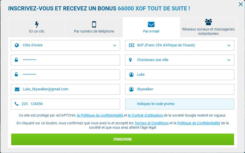 1xBet inscription Côte d`Ivoire